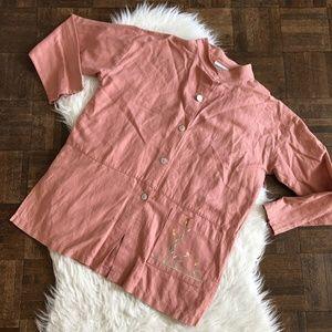Coldwater Creek Small Peach Shirt Mandarin Collar